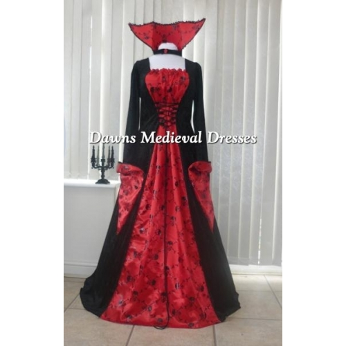 HALLOWEEN BRIDE OF DRACULA SKULL BALL GOWN BLACK AND RED